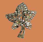 Maple leaf rhinestone brooch