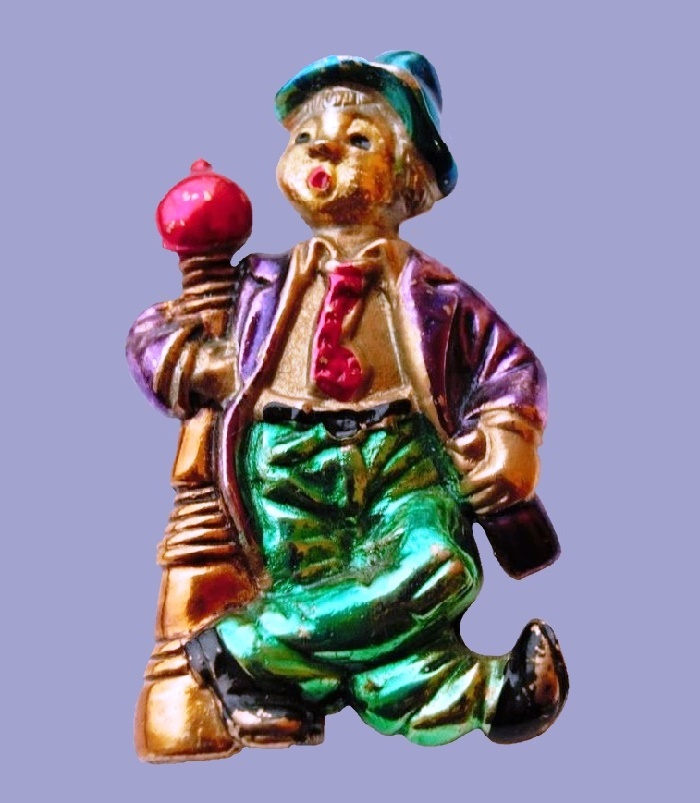 Marked Elle vintage clown brooch. 1960s