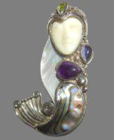Mermaid goddess. Sterling silver, natural stones