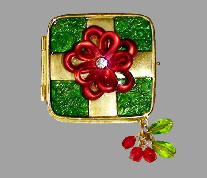 Merry Christmas card, Transformer-brooch. Pearly enamel of green and red color, rhinestones and crystals