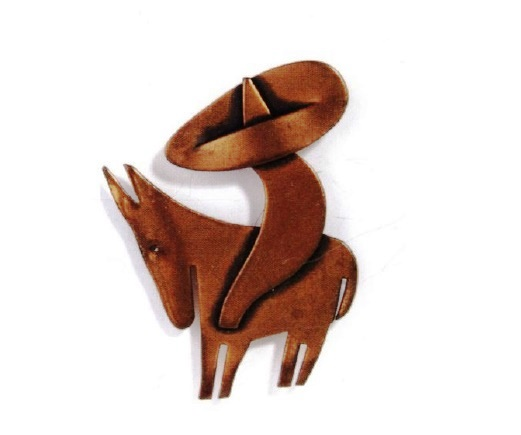 Mexican on a donkey, brooch