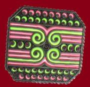 Mirage. Enameled brooch. Color enamels, plique a jour, 925 silver plated, crystal, rhinestones. 5.6 cm