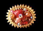 Multicolored Stones, Pearls gold plated vintage brooch