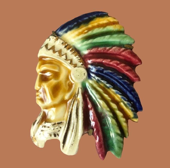 Native American Indian brooch, handpainted ceramic, metal back