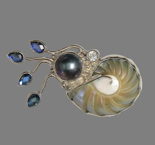 Nautilus Shell Pin with Blue Mabe Pearl, White Topaz and Celestial Blue Quartz