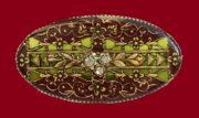 Olive vintage brooch. 1980's. Jewelery alloy, copper plate, silvering, swarovski crystals, colored enamels. 4.2 cm x 2.9
