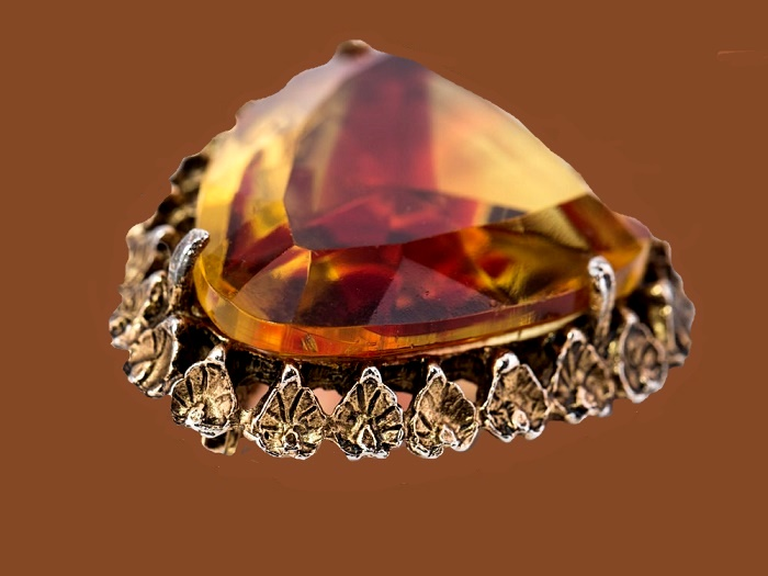 Orange topaz faceted glass stone brooch