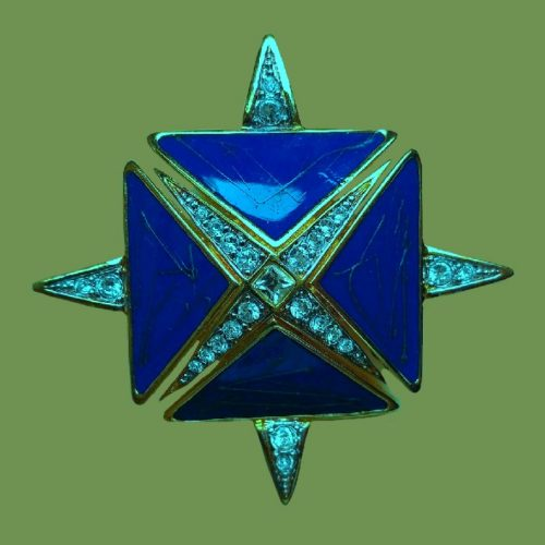 Original brooch pendant in the form of a Maltese cross. Jewelery alloy golden color, blue enamel, crystals. 5 x 5 cm