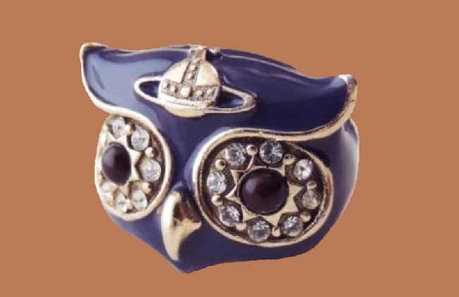 Owl ring, purple enamel, Swarovski crystals