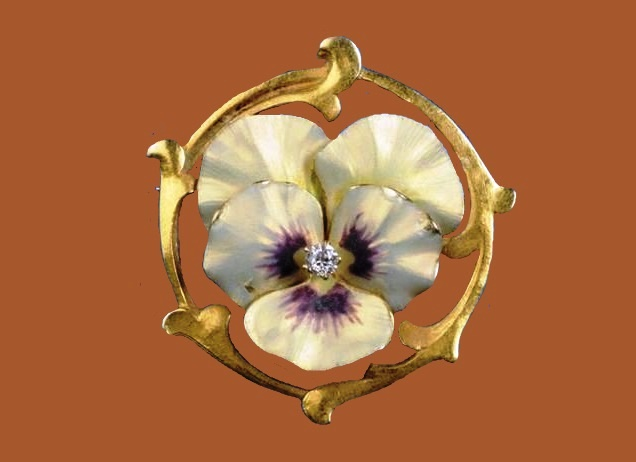 Pansy brooch. Art Nouveau Enamel 14kt Gold and Diamond
