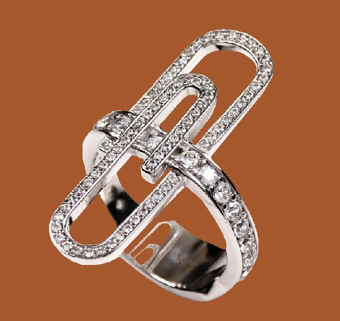 Paper clip ring. White cubic zirconia, the rhodium plated