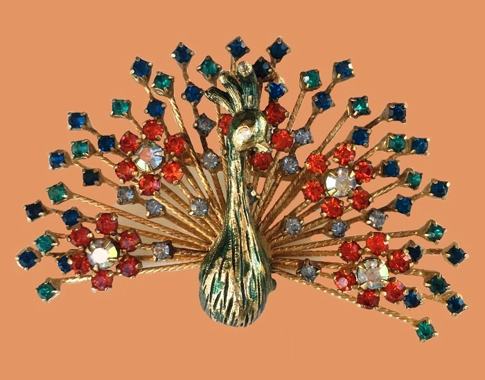 Peacock Brooch. Colorful Rhinestone Gold Tone