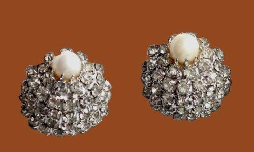 Pearl and pave rhinestone earrings