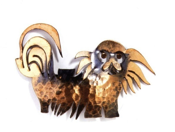 Pekingese Dog copper brooch. 1942. Designer Francisco Rebajes