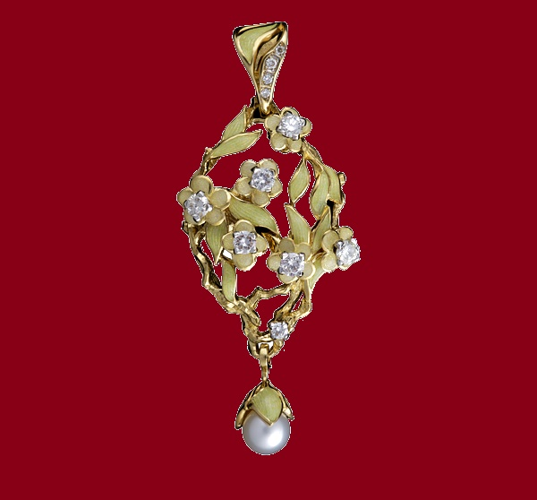 Pendant Sakura. Diamonds, pearl, gold and enamel