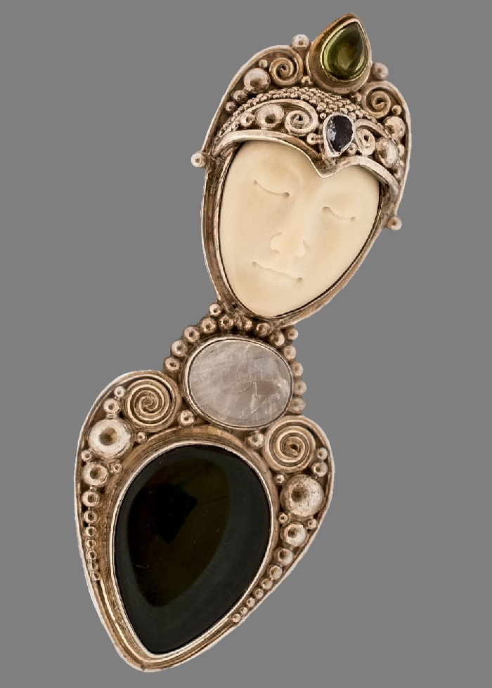 Pendant brooch. Silver 925, natural amethyst, chrysolite, black jade, moonstone, carved bone. 8 cm x 3 cm