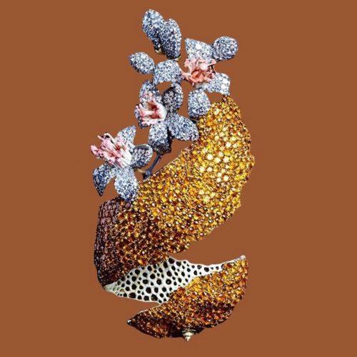 Philosophical approach in jewellery - orange peel brooch with orange-blossom. Gold, silver, garnets, diamonds and enamel