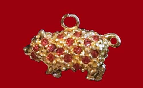 Pig charm, jewellery alloy, pink ruby crystals, vintage