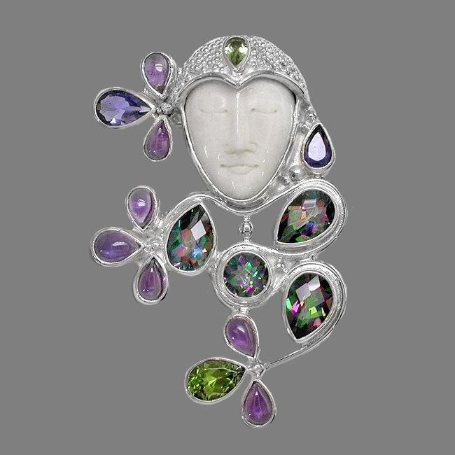 Pin-pendant. Mystic Topaz, Amethyst, Peridot and Iolite