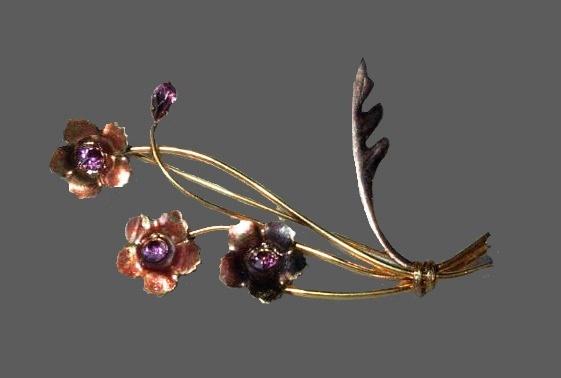Pink rhinestone floral bouquet brooch