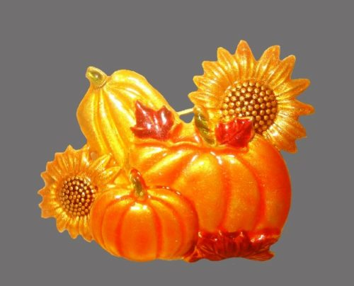 Pumpkins and sunflowers enameled brooch