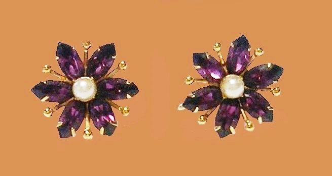 Purple rhinestones, faux pearl, gold tone metal earrings