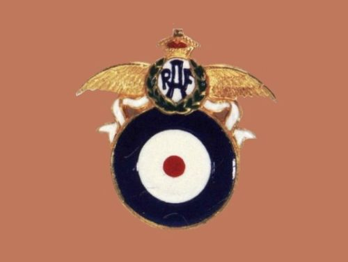 RAF Pin, 1941. Designer Victor Silson. Gold-plated metal brooch, white, red and blue enamel, with the R.A.F. emblem over a circle that is a target, with the colors of the British flag. 4x4cm
