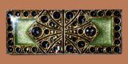 Rectangle Brooch, jewelry imitation, colored enamels, silvering, silver, crystals. Size 5.3 cm x 4 cm