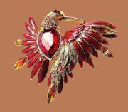 Red Bird brooch. Gold plated, rhinestones, crystals, enamel. 6 cm