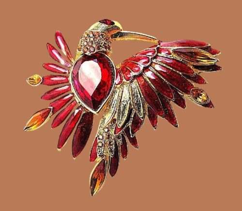 Red Bird brooch. Gold plated, rhinestones, crystals, enamel. 6 cm
