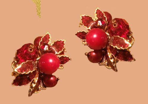 Red berry, stunning earrings. Aurora Borealis & Stones Set