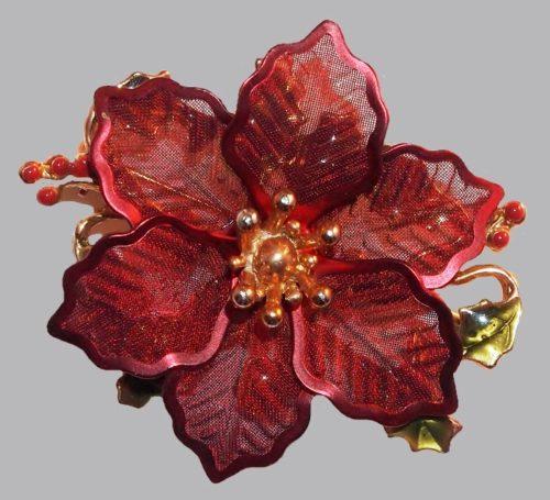 Red enamel mesh flower