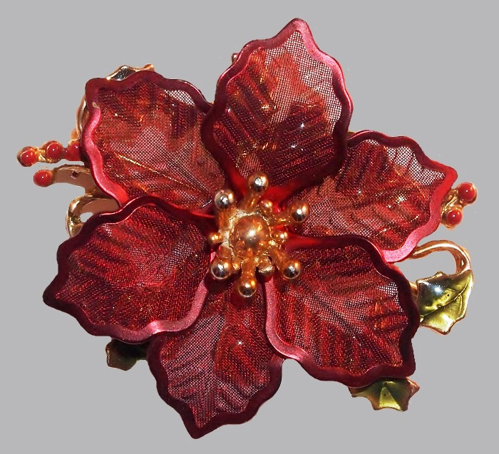 Red enamel mesh flower