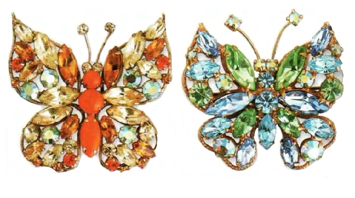 Retro brooches, 1950s, gold plating, orange-red aurora borealis cabochons, rhinestone. 5.5 cm. butterflies. £ 85-90 CRIS