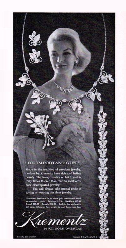 Retro poster, Krementz vintage costume jewellery