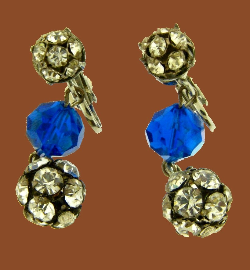 Rhinestone and blue crystal drop earrings