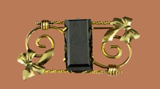Ribbon Bow Brooch, 12 K gold, vintage