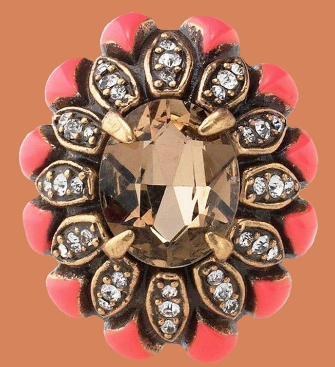 Rosanna adjustable ring. Black diamond sparkle surrounded by a burst of pave and bright pink enamel