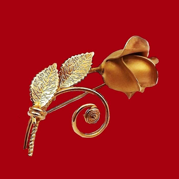 Rose brooch, gold filled