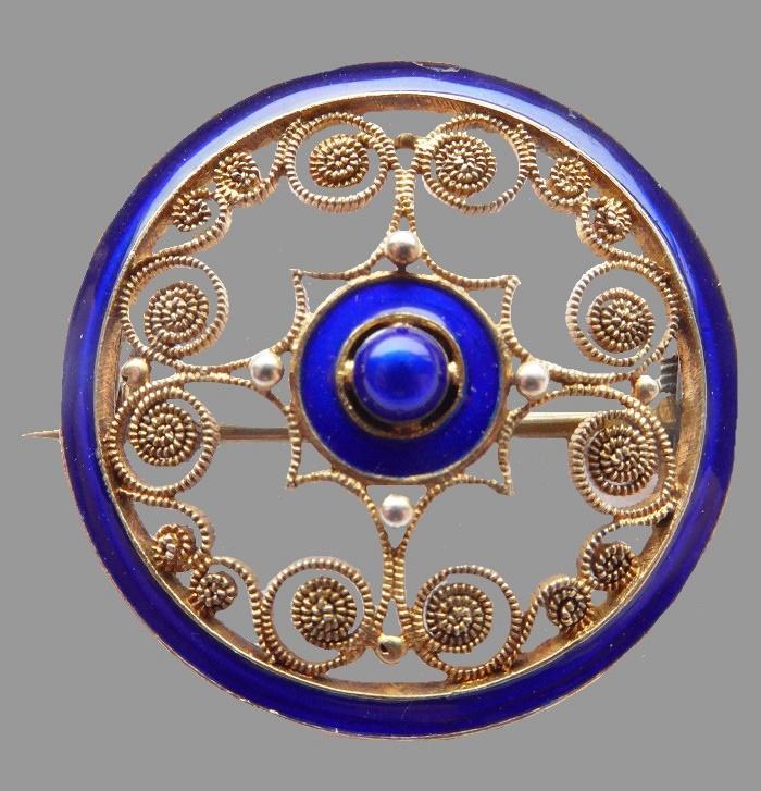 Royal Blue Enamel and filigree sterling silver Brooch