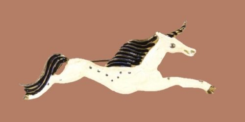 Running Unicorn, 1938. Manufacturer Silson Co. Designer Vally Wieselthier. Pot metal brooch with light blue lucite cabochons in the shape of an owl. 7.2x4.5cm
