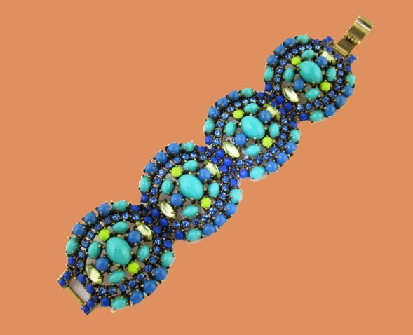 Sardinia Panel Link Bracelet Blue Beaded Rhinestone