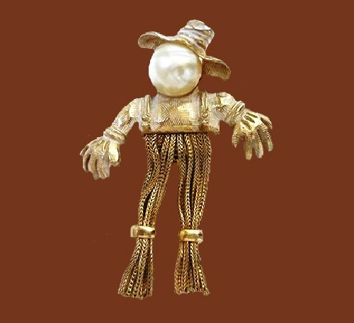 Scarecrow brooch with pearl by Emmons