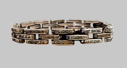 Schreiber and Hiller DRGM sterling silver diamante tank track bracelet. 1930s