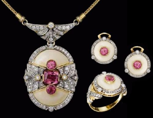 Set 'Tariq'. Spinel, diamonds, enamel, gold