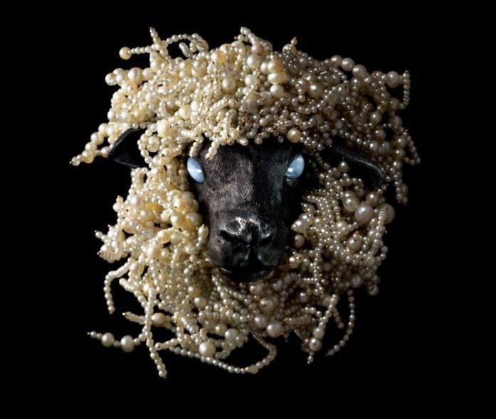 Sheep's head brooch. Oriental pearls, cabachon star sapphires, blackened silver, and gold. 2006