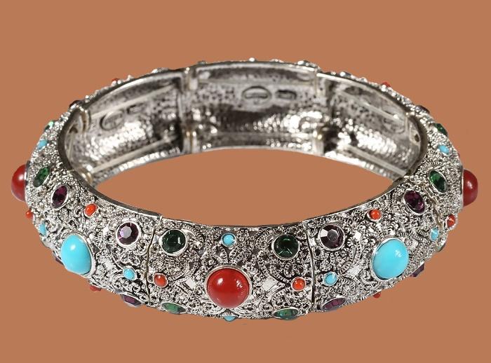 Silver bracelet, cabochons, crystals