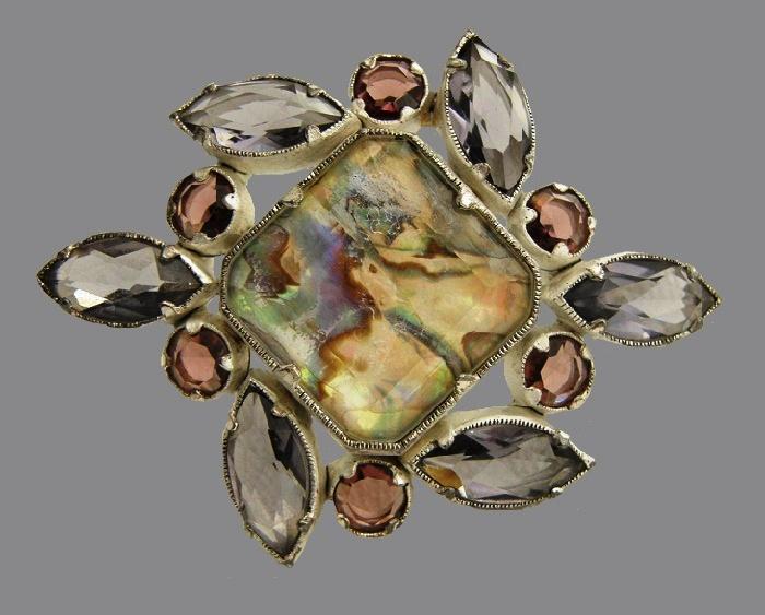Silvertone Abalone & Amethyst Glass Stones Brooch