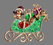 Sledge with gifts. Multicolored pearl enamel, rhinestones of white and ruby ​​colors. 1980s