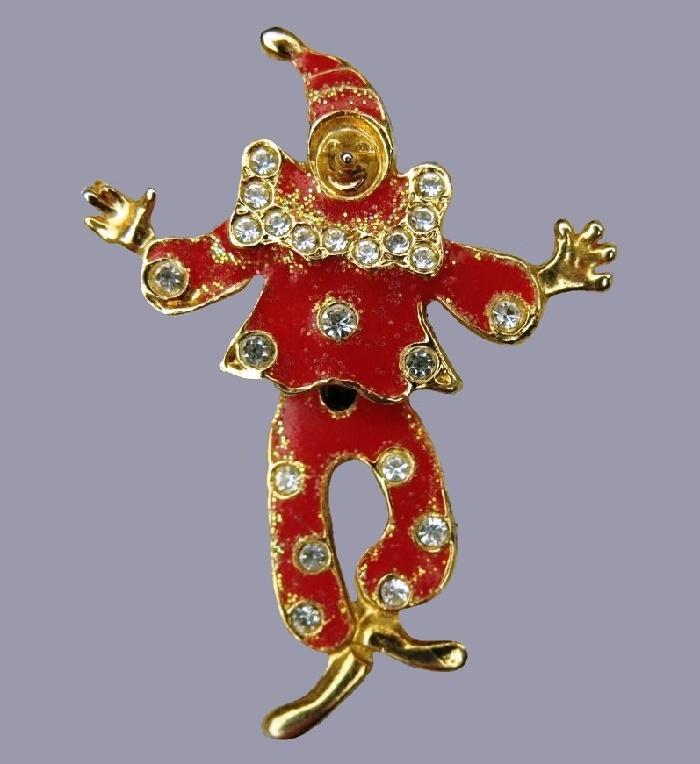 Sparkling clown brooch. Enamel, rhinestones, enamel. 6 cm